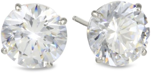 Madison Avenue Collection 10k White Gold Swarovski Cubic Zirconia Stud Earrings (3 cttw)