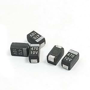 5Pcs SMT SMD 7343 Case E 470uF 10V Black Chip Tantalum Capacitors