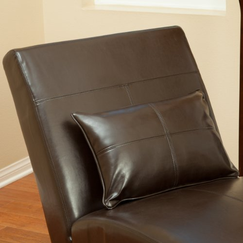 Laguna brown leather curved chaise lounge chair and for Brown leather chaise lounge