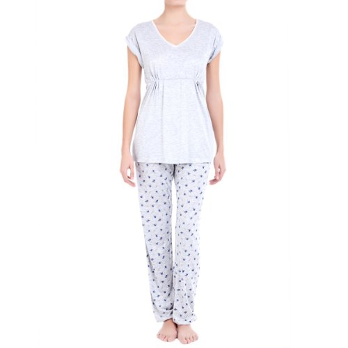 women'secret Long Floral Print Pyjama With Short Sleeve Top
