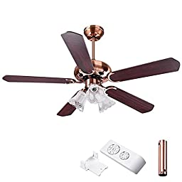 5-Blades Counterclockwise/ Clockwise, 3 Speeds, E27 Bulb 3-Light Ceiling Fan w/ Remote Control (48\