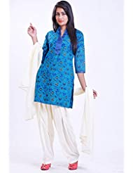 Utsav Fashion Women's Blue Cotton Readymade Salwar Kameez-Medium