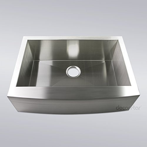 Decor Star F-001-Z 30 Inch x 21 Inch Farmhouse Apron Single Bowl 16 Gauge Stainless Steel Luxury Handmade Kitchen Sink cUPC Zero Radius