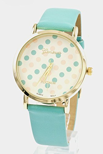 Glitz Finery Round Polka Dot Print Face Solid Color Band Watch (Mint/Peach)
