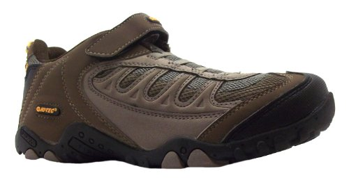 Boy's Monterey Ez Jr Hi Tec Smokey Brown/taupe/mandarin Velcro Elasticated Walking & Hiking Shoes