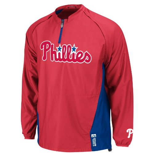 MLB Philadelphia Phillies Long Sleeve Lightweight 1/4 Zip Gamer Jacket, Red/Blue, X-Large at Amazon.com