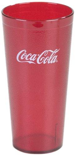 "Carlisle 52203550 Coca-Cola Stackable San Tumbler, 20-Oz. Capacity, 3.43"" Dia. X 6.50"" H, Ruby (Case Of 72)"