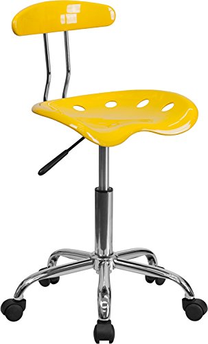 Vibrant Orange-Yellow and Chrome Task Chair with Tractor Seat