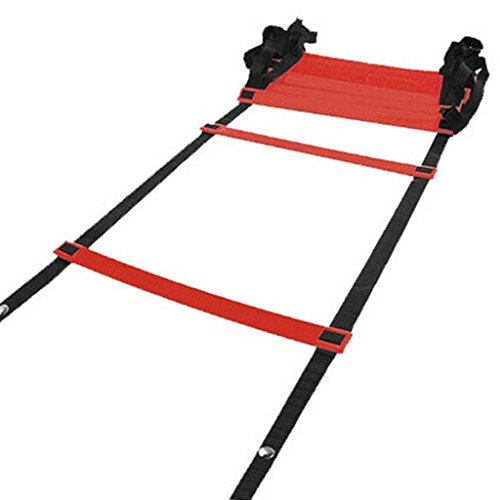 Fvstar Pro Speed Agility Ladder with Carry Bag Speed Footwork Training Equipment for Football Lacrosse Soccer Basketball (Red, 5 M with 9 Rungs)