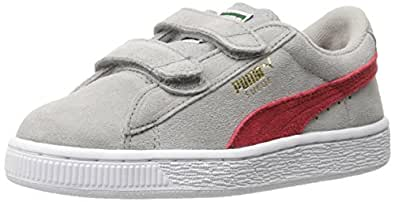 PUMA Suede 2 straps Kids Sneaker (Infant/Toddler), Drizzle/High Risk Red, 3.5 M