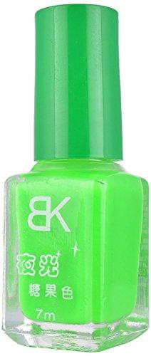 BK Glow In Dark Radium Neon Green Colour Nail Polish Varnish Fluorescent Neon Luminous Art BK-4, 7 ml