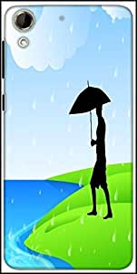 Snoogg Abstract Rainy Season Background With Silhouette Of A Man Holding Umbrella Designer Protective Back Case Cover For HTC Desire 728