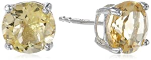 Sterling Silver 8mm Round Citrine Earrings