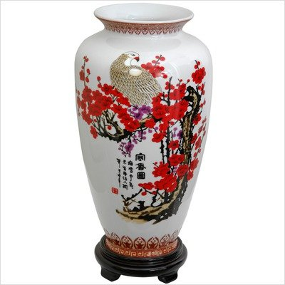 Tung Chi Vase with Cherry Blossom Design in White