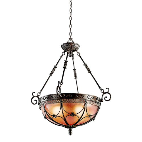 Kichler Lighting 42229TRZ Marchesa 3-Light Inverted Pendant, Terrene Bronze with Piastra Glass