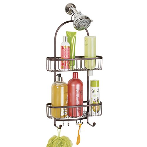 mDesign Bathroom Shower Caddy for Shampoo, Conditioner, Soap - Extra Large, Bronze (Shower Head Caddy Bronze compare prices)
