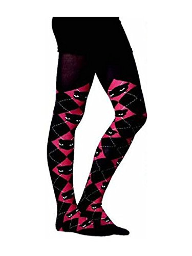 Emily Kitty Black/Red Argyle Tights