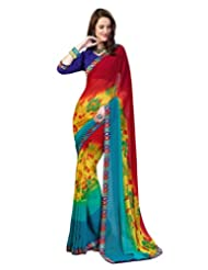 Inddus Exclusive Women Fashionable Multicolored Georgette Printed Saree - B00R98DZUS