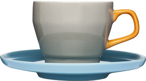 Sagaform POP Stoneware Coffee Cup and Saucer, 8-1/2-Ounce, Brown/Orange/Turquoise