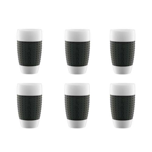 Delightful 8± Bodum Pavina Porcelain Cup With Silicone Grip, 0.5 L, 17 Oz, 6 Pcs. Set,  Black Nice Design