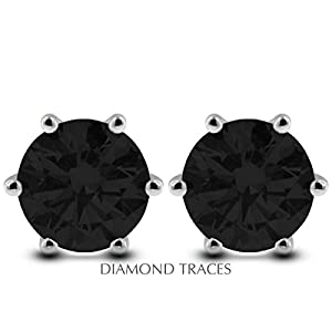 4.07 Carat Round Natural Diamond AGI Certified Black Ideal Cut 14k White Gold 6-Prong Setting Classic Style Studs Earrings