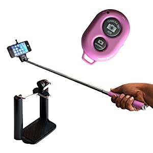MAXXLITE Selfie Stick with Bluetooth Remote Monopod Pink
