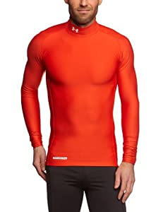 Under Armour EVO Coldgear Mock Neck Long Sleeve Compression Running Top - Small - Red