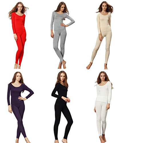 Liang Rou Women's Crewneck Stretch Top & Bottom Thin Thermal Underwear Set