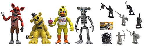 "Action Figure Five Nights at Freddy's 4 Figure Pack(1 Set), 2"" & Free Guardian Knights Action Figure Set 36-Piece, Colors may vary Toys"