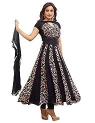 Fabfiza Black Georgette Print And Embroidered Designer Semi Stitched Anarkali Suit