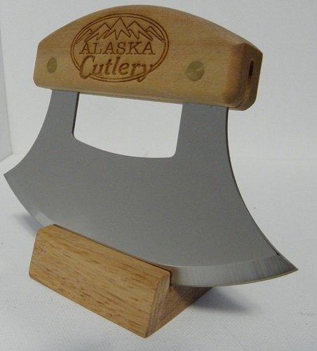"Alaskan Inupiat Style Ulu With Alaska Cutlery Etched Birchwood Handle, 6.25"" Blade"
