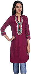 Geroo Women's Cotton Regular Fit Kurta (MKT-1502DAZ, Brown, S)