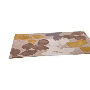 3 Sizes Available - Infinite Seasons - Stencil Leaves Ochre/Grey - Good Quality Rug from Flair Rugs