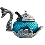 AnD ArtVilla Traditional Unique Gift Purpose Home Decor And Decorative Pinkcity Jaipur Rajasthani Handmade Handicraft Metal Single Duck Bowl - Silver And Glass Decorative Platter In Sky Blue Color Bowl (15 Cm X 11 Cm X 11 Cm, Blue And Silver)