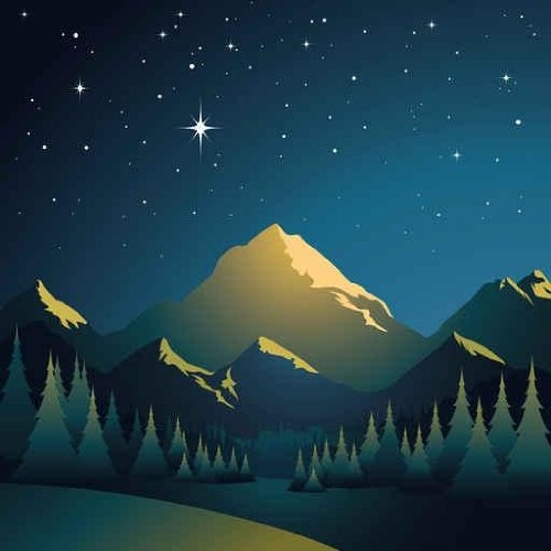 Sky Wall Decals Glowing Mountains - 24 Inches X 24 Inches - Peel And Stick Removable Graphic front-643882