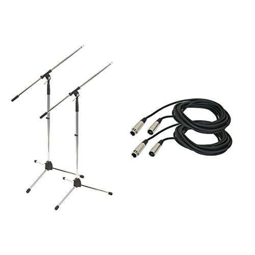 Proline Tripod Microphone Stand With 20 Foot Microphone Cable (2 Pack) Chrome (Chrome)