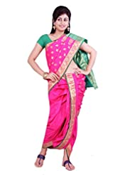 ISHIN 8 Meter Ready to wear Navari Polly silk Pink Saree - B00KV7PLGU
