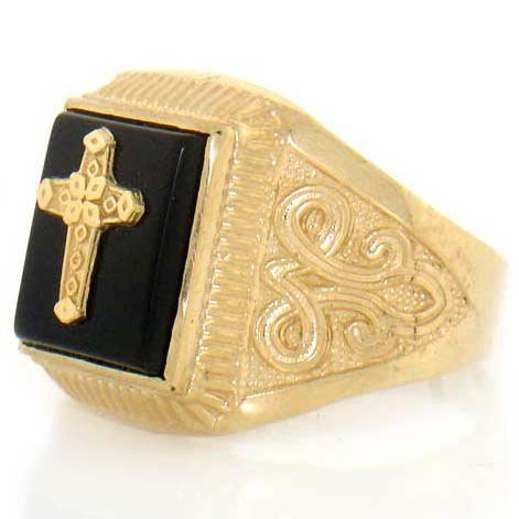 9ct Yellow Gold Onyx Cross Mens Fancy Ring Jewellery