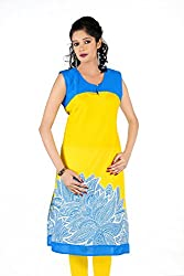 Sruti Women's Printed Kurti (TAC 844 _Yellow_40)
