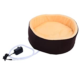 "Pawhut 16"" Indoor Electric Heated Round Dog Pet Bed"