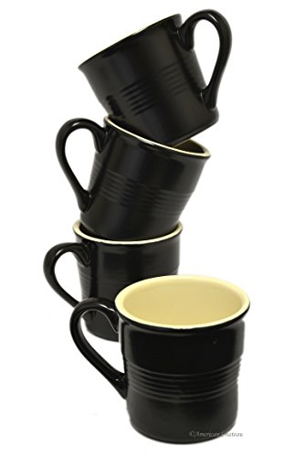 Set 4 Vintage-Onyx Black Stoneware 4oz Demitasse Espresso Coffee Cups (Espresso Cups Vintage compare prices)