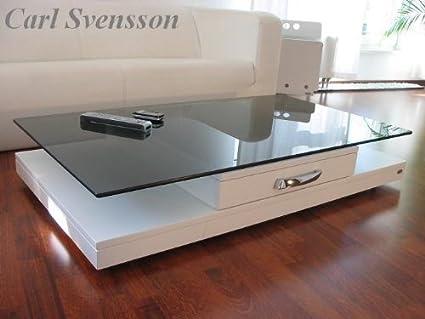 DESIGN COUCHTISCH weiß V-470 getöntes Glas Carl Svensson