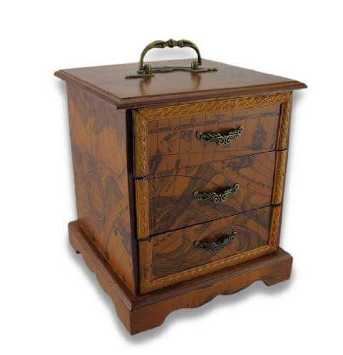 3 Drawer Wooden Organizer With Old World Map Design And Top Handle front-860182