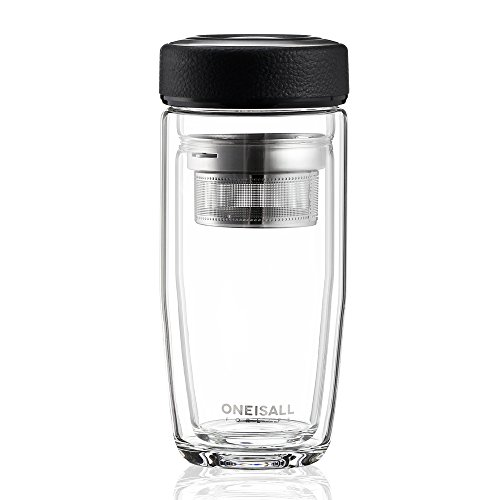 ONE IS All GYBL015 380ML Glass Drinking Water Bottle,Ultra Clear Spill-proof Strong Double-wall Borosilicate Glass Tea Tumbler with Strainer,490G,Black