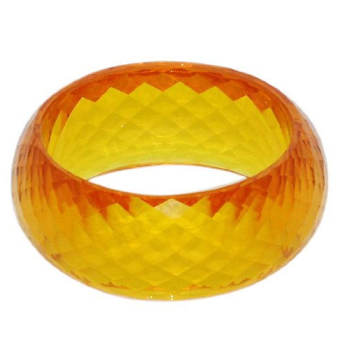Womens / Girls Crystal Look (Semi-Transparent) Chunky Hard Plastic Bangle / Bracelet / Cuff