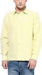 Y.U.V.I. Men's Cotton Regular Fit Casual Shirt (11112950-XL, Yellow & White, X-Large)