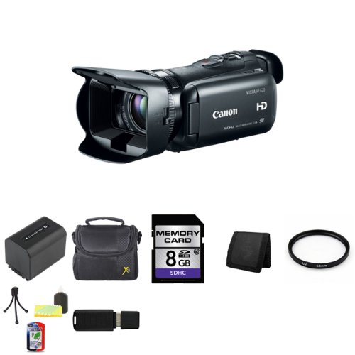 Canon 32GB VIXIA HF G20 Full HD Camcorder HFG20 8063B002 + 58mm UV Filter + Extra BP-819 Battery + 8GB SDHC Class 10 Memory Card + Carrying Case + Memory Wallet + Table Top Tripod, Lens Cleaning Kit, LCD Protector + USB SDHC Reader