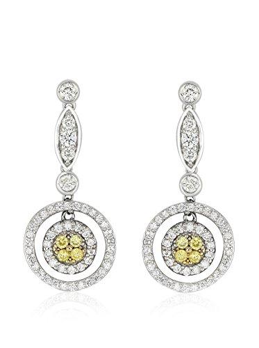 Bouquet 1-1/6 Carat TW Fancy Intense Yellow Diamond/18K White Gold Earrings