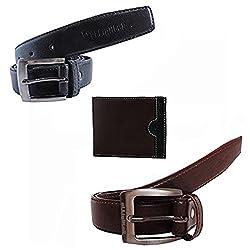 Elligator Black & Brown Formal Belt With Wallet Combo