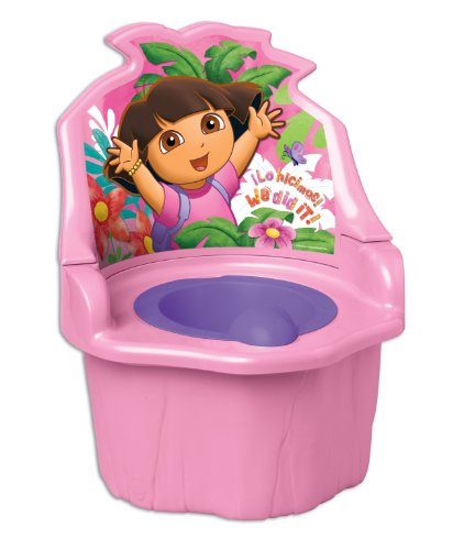 Nickelodeon Dora the Explorer 3-in-1 Potty Trainer - Functions as Potty Chair, Potty Seat, and Step Stool - Portable - Easy Cleaning - Pink and Purple - For 18 Months and Up - 1